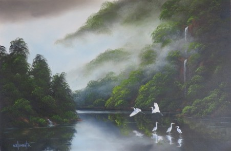 Waterbirds. 50 x 76cm Oil on Canvas