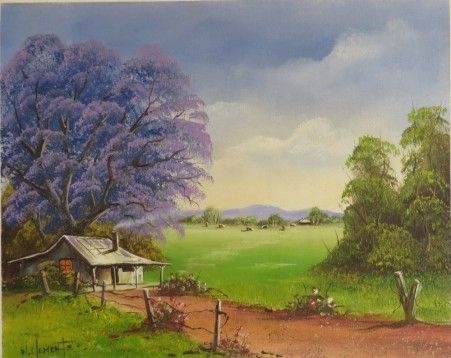 Under The Jacaranda. 40 x 50cm oil painting on canvas by Wayne Clements