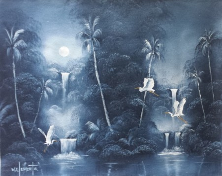 Tropical Waterfalls. 40 x 50cm oil on stretched canvas, ready to hang. Painted on Episode 2 of Luv 2 Paint