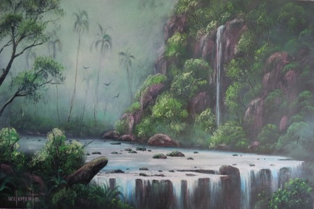 Majestic Falls 40 x 60cm oil on canvas by Wayne Clements. Episode 12 Luv 2 Paint. Unframed $695.00 Framed $875.00