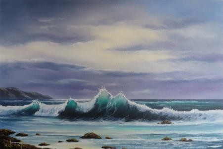 Wave Break 40 x 60cm oil on canvas by Wayne Clements. Episode 13 Luv 2 Paint. Unframed $695.00 Framed $875.00