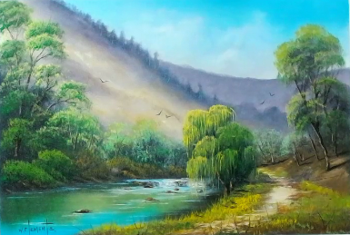 Mountain Creek 40 x 60cm oil on canvas by Wayne Clements. Episode 15 Luv 2 Paint. Unframed $695.00 Framed $875.00