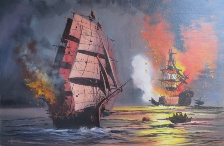Trafalger 59.5 x 90cm Oil painting on canvas mounted to board.. $1295.00 unframed or contact us about framing