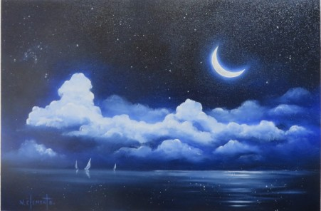 Crescent Moon. Luv 2 Paint Episode 21. 40 x 60cm oil on canvas by Wayne Clements. Unframed $645.00 Framed $825.00