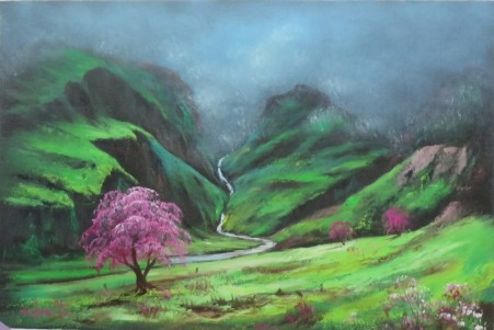 Misty Mountain Stream. Luv 2 Paint Episode 23. 40 x 60cm oil on canvas by Wayne Clements. Unframed $695.00 Framed $875.00