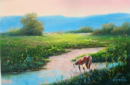 Kilcoy Cattle. Luv 2 Paint Episode 25/6. 40 x 60cm oil on canvas by Wayne Clements. Unframed $695.00 Framed $875.00