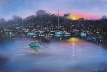 Sunset Marina. Luv 2 Paint Ep 37 40 x 60cm oil on canvas by Wayne Clements. Unframed $695.00 Framed $875.00
