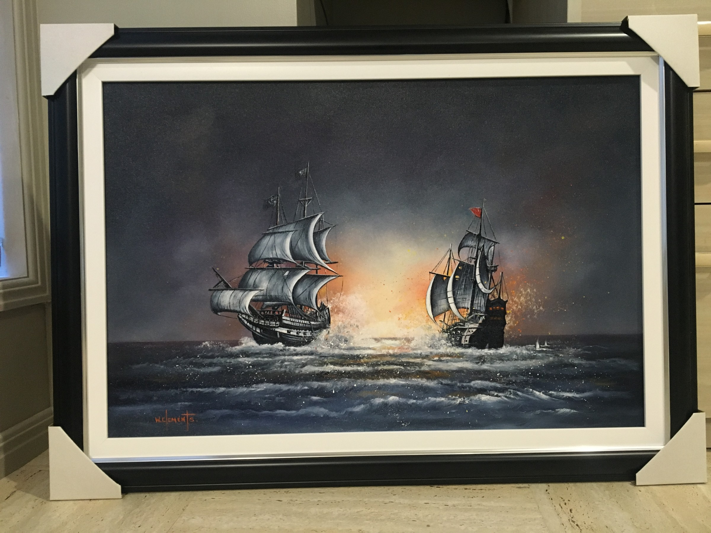 Oil Painting of Old Galleons